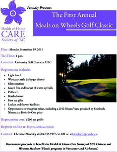 Advertisement for the 2011 Meals on Wheels Golf Classic at the Health and Home Care Society of BC