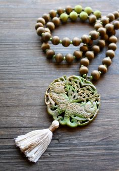 Mala Tassel Necklace Stone Koi Fish Goldfish Handmade by Montrigue