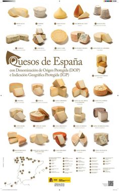 """Quesos de España (Cheeses of Spain) -- From the Spanish Government's """"Ministerio de Agricultura, Alimentación y Medio Ambiente"""" comes this campaign about Spanish Cheese Week. Click through for a PDF, or click http://www.alimentacion.es/es/campanas/lacteos/quesos-de-espana/Cartel_interactivo_quesos_de_espana.aspx for an interactive page; other campaigns are also listed there."""