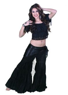 Miss Belly Dance Belly Dance Tribal Pants, Top & Hip Scarf With Lace | Stata Pople (Small/Medium, Black)