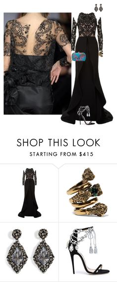 """BLACK LACE"" by celsoromera ❤ liked on Polyvore featuring Mikael D, Gucci, Alexis Bittar and Marchesa"