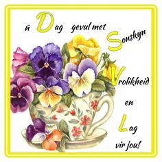 Lekker Dag, Goeie More, Afrikaans Quotes, Tableware, Bible, Cards, Inspiration, Biblia, Biblical Inspiration