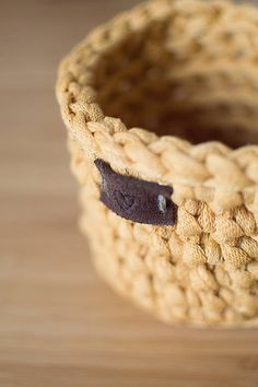 Mustard little crochet basket with leather heart