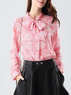 5a08306d9edc10 Pink Vintage H-line Floral-print Silk Blouse