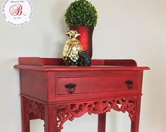 Red Occasional Table, Red Hall Table, Console Table, Red Side Table, Red and black table, Hall Table, Table with drawer, Painted Table