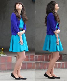 Zoey Deschanel / like her style dress + sweater