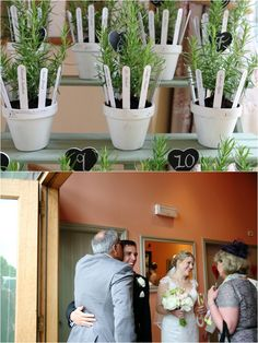 plant pots with herbs in as table plan at pretty summer wedding at the garden barn, suffolk