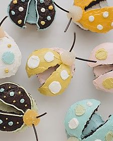 Bug Cupcakes - Martha Stewart Birthday party. If u put the curve sides together u can have butterfly cupcakes!!