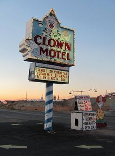 I saw this and immediately thought: Supernatural episode! Can you imagine Dean making Sam stay here, though? / Clown Motel, Nevada