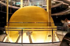 The Damper in the Taipei 101 building in Taipei, Taiwan. Tuned mass dampers stabilize against violent motion caused by harmonic vibration. Taipei 101, Taipei Taiwan, Latest Design Trends, Creative Decor, Art And Architecture, Beautiful Pictures, Weird, Table Lamp, Lighting