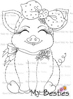 My Besties, Sherri Baldy, Valentines, sweet lil things, digi stamps Farm Animal Coloring Pages, Easy Coloring Pages, Coloring Books, Embroidery Patterns, Hand Embroidery, Farm Quilt, Digi Stamps, Art Plastique, Paint Designs