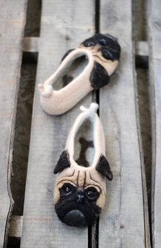 "Acquire wonderful suggestions on ""pug puppies"". They are offered for you on our site. Pug Puppies, Pugs, Felt Animals, Funny Animals, Chinese Pug, Shoe Crafts, Felt Shoes, Felted Slippers, Womens Slippers"