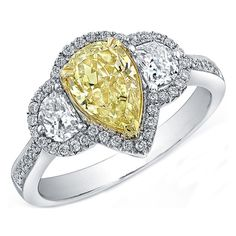 diamond rings, diamonds, ring half, pear shape, pears, half moon, moon side, pave halo, engagement rings