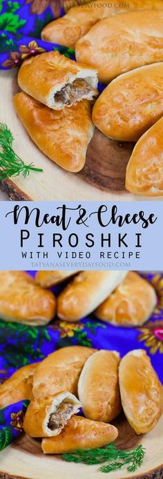 It's been a while since I shared a Russian recipe! Say 'hello' to the Russian version of meat pockets – these 'Meat & Cheese Piroshki' are one of my favorite! Soft yeast dough is filled with beef, mozzarella, cheddar and onion, then baked to golden perfec Polish Recipes, New Recipes, Cooking Recipes, Favorite Recipes, Vegetarian Cooking, Easy Cooking, Ukrainian Recipes, Russian Recipes, Russian Foods
