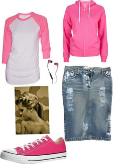 """""""pinky"""" by samantha-lawler ❤ liked on Polyvore love that skirt! love the converse and denim skirt!"""