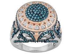 Park Avenue(Tm) 1.00ctw White & Blue Velvet Diamond(Tm) 18k Rose Gold & Rhodium Over Silver Ring