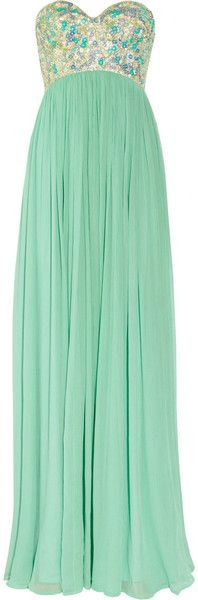 $1575 Rachel Gilbert Sonya Sequined Bodice Silk Crepe Gown in Green (mint)  I LOVE this color!!!!! (gorgeous bridesmaid dress?)