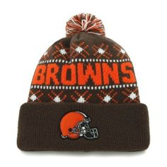 buy popular e6490 1cb71 Cleveland Browns Brown  47 Brand Tip Off Pom Top Cuff Knit Hat  47 Brand.   21.95