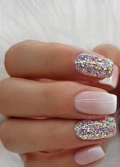 Nail Art Designs, Short Nail Designs, Cute Nails, Pretty Nails, Pink Nails, Gel Nails, Nail Nail, Design Ongles Courts, Nails Design With Rhinestones