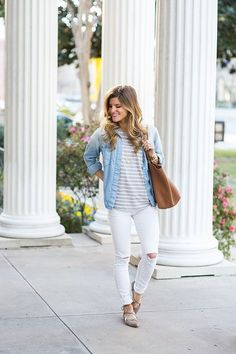 1bd54f56bda 20 White Jeans Spring Outfits To Get Inspired - Styleoholic