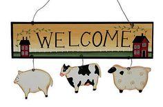 "Primitive Home Decor Signs | Primitive ""Welcome"" Farm Animal Sign - Wall Decor - Home Decor"