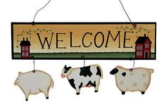 "Decorative Welcome Signs | Primitive ""Welcome"" Farm Animal Sign - Wall Decor - Home Decor"