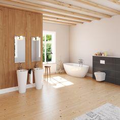 Bad Aufmöbeln! Holz, Großformatige Fliesen, Standwaschtische Und  Freistehende Badewannen Sind Voll Im Trend