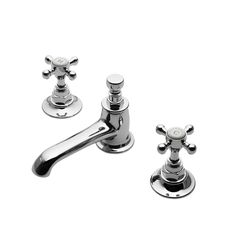 Highgate Low Profile Three Hole Deck Mounted Lavatory Faucet With Metal Cross Handles