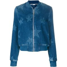 Stella Mccartney Denim Bomber With Stars ($1,160) ❤ liked on Polyvore featuring outerwear, jackets, blue, style bomber jacket, blue bomber jackets, star jacket, collarless jackets and blue denim jacket
