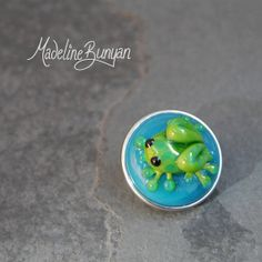 Adorable Glass Frog Green and Blue  snap pop by MadelineBunyan