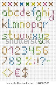 Colorful Cross Stitch Lowercase English Alphabet Stock Vector (royalty-free) 148808585 - DIY and Crafts Cross Stitch Letter Patterns, Cross Stitch Numbers, Cross Stitch Letters, Simple Cross Stitch, Cross Stitch Borders, Cross Stitch Designs, Cross Stitching, Cross Stitch Embroidery, Embroidery Patterns