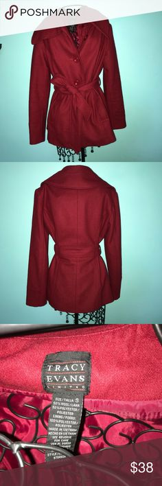 Red wool coat this jacket has a wool-like material in bold red color and oversized collar. ties in the front with buttons and great size packets. Always open to reasonable offers and discounts on bundles😊 Tracy Evans Jackets & Coats Trench Coats