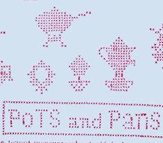 1920s Antique Cross Stitch Pots & Pans Uncut McCall's Embroidery Transfer #McCallKaumagraph #TeaTowels