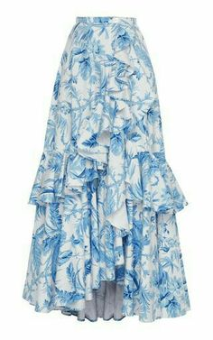 Lena Hoschek Women Flamenco Ruffle Maxi Skirt Hidden side seam pockets Features mother-of-pearl buttons print 692297 FCMJPFF Boho Fashion, Fashion Dresses, Fashion Design, Feminine Mode, Cotton Maxi Skirts, Floral Maxi Skirts, Denim Skirt Outfits, Vintage Inspiriert, Ribbon Skirts