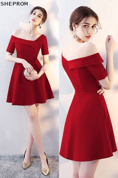 Sale Special Asymmetrical Off Shoulder Red Homecoming Dress with Sleeves - Trendy Dresses Trendy Dresses, Elegant Dresses, Nice Dresses, Casual Dresses, Short Sleeve Dresses, Dresses With Sleeves, Burgundy Homecoming Dresses, Prom Dresses, Burgundy Dress