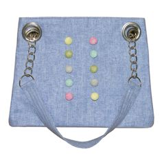Handmade Linen Button Bag (Blue)
