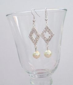 Diamante Earrings with Cream Pearls Dangle by AwfyBrawJewellery