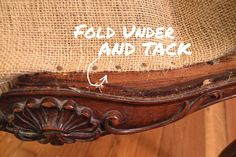 Tacking down burlap with tack nails on french chair Diy Furniture Chair, Vintage Bedroom Furniture, Chair Redo, Chair Makeover, Diy Chair, Handmade Furniture, Repurposed Furniture, Furniture Makeover, Home Furniture