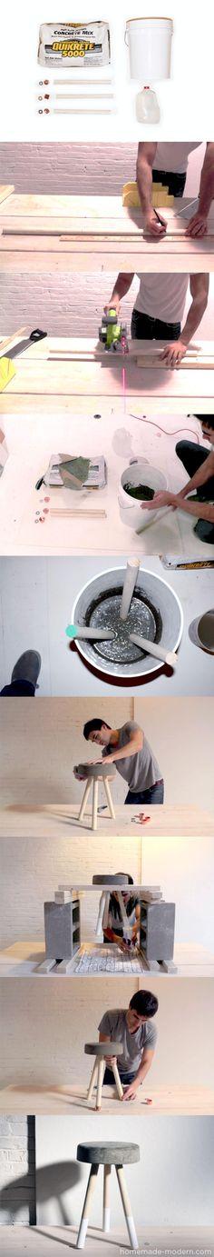Ingenioso taburete de hormigón