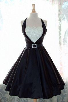 Black Satin Tux Pinup Dress-Circle Skirt-Custom Made to fit