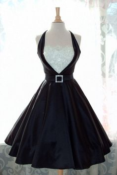 Black Satin Tux Pinup Dress-Circle Skirt-Custom Made to fit