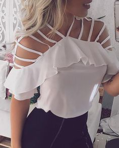 Ladder Cut Out Ruffles Casual Blouse - Fashion outfits - Shoes Blouse Styles, Blouse Designs, Hipster Fashion Style, Fashion Fashion, Fashion Shoes, Fashion Online, Fashion Ideas, Winter Fashion, Bodycon