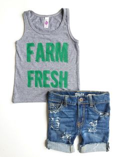 NEW Farm Fresh Summer Bundle-  Farm Hand Shorts and Farm Fresh Gray Tank- Bundle for Babies and Toddlers - Farm Birthday Outfit by FarmFreshDenim on Etsy