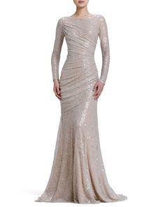 Carmen Marc Valvo Long-Sleeve Sequined Mermaid Gown - Neiman Marcus