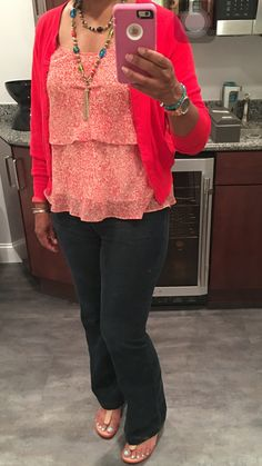 CAbi Farrah jeans, tiered Cami, poppy cardi