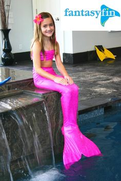 "Swimmable Mermaid Tail ""with"" Monofin and Free Bikini Top - Sparkly Jazzy Pink by FantasyFin"