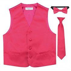 Little Boys Hot Pink Vest Bow-tie Tie Special Occasion 3 Pcs Set 2-6