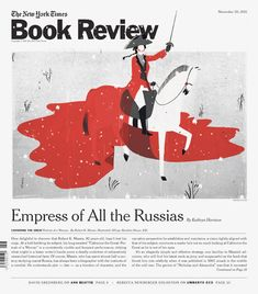 Emilaino-Ponzi, illustration of Catherine the Great for the NYT Book Review – her red coat merges into a pool of blood left behind her on the battle field.