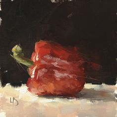 8 x 8″, Red Pepper Study, Oil on board.