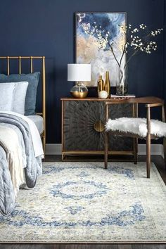 Bosphorus Distressed Persian Blue Rug Bosphorus Distressed Persian Blue Rug Distressed blue Persian area rug in bedroom with wood tones gold accents and dark blue wall<br> Blue And Gold Bedroom, Dark Blue Bedrooms, Blue Master Bedroom, Blue Bedroom Decor, Blue Rooms, Bedroom Colors, Home Bedroom, Gold Bedroom Accents, Bedroom Rugs